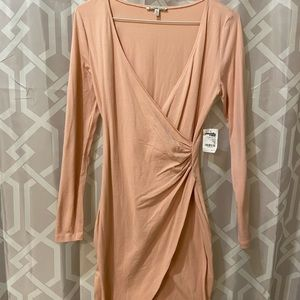 Front split long sleeve cocktail dress